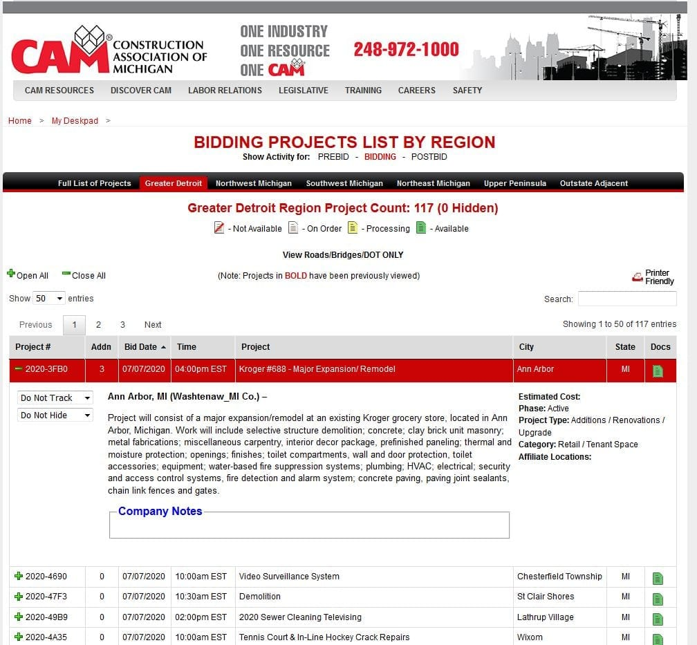 Example Project List